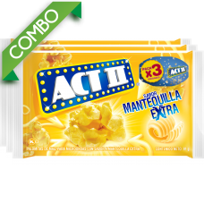 ACT II MANTEQUILLA EXTRA PACK 3 UNIDS 273GR